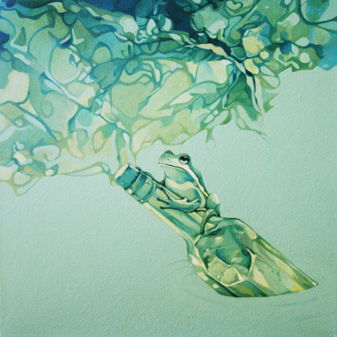 Message in a Bottle, Oil, 12 x 12, Jolene Lai, 2010